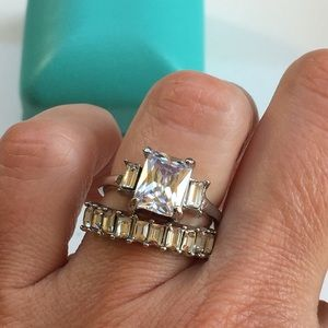 14k white gold plated ring band diamond set